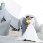 Raquel and Erik are photographed in front of the Disney Concert Hall in Los Angeles on 8/25/12.