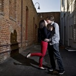 Emily and Terrance are photographed in an alley in Old Town Orange, CA on 2/9/13.